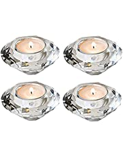 Crystal Romantic Tealight Holders Hand Cut Diamond Table Centerpieces Decor Candle Holders Banquet Decorations for Home Wedding