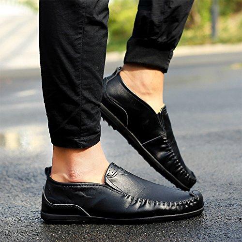Vilocy Mens In Pelle Pu Slip On Flat Mocassini Casuali Mocassini Artigianali Scarpe Da Barca Sneakers Nere