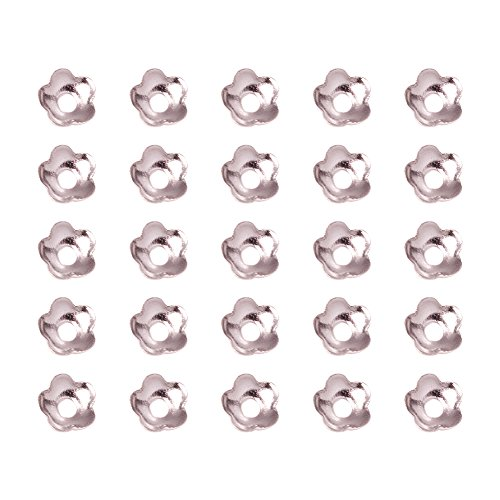 Pandahall 10g (About 340pcs) 4mm Silver Tone Flower Brass Spacer Bead Caps Jewelry Making (Silver Finish Bead Cap)
