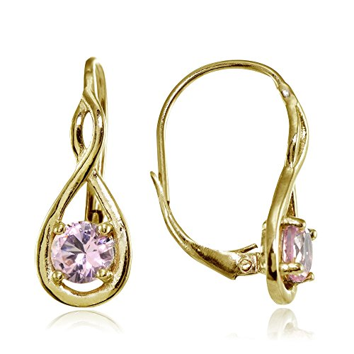 Yellow Gold Flashed Sterling Silver Simulated Pink Tourmaline 5mm Round Infinity Leverback Earrings