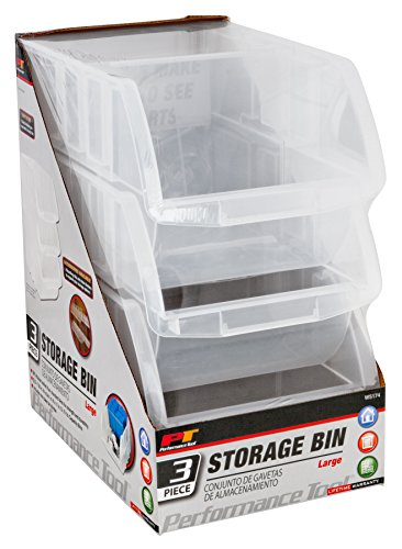 Performance Tool W5174 L 3pc Large Stacking Clear Plastic Dual Angle Patented Tilt Bins