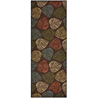Custom Size Leaves Leaf Brown Multi Color Roll Runner 26 in Wide x Your Length Choice Slip Resistant Rubber Back Area Rugs and Runners (Brown Multi Leaves, 12 ft x 26 in)