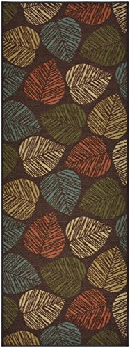 Custom Size Leaves Leaf Brown Multi Color Roll Runner 26 in Wide x Your Length Choice Slip Resistant Rubber Back Area Rugs and Runners (Brown Multi Leaves, 5 ft x 26 in)