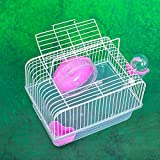 BEESCLOVER Pet Hamster Cage Luxury House Portable Mice Home Habitat Decoration red L