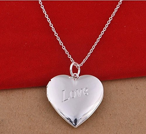 3 Style Women's Bijoux Love You 925 Sterling Silver Heart Photo Frame Locket Charms Pendant Necklace Floating Locket with Chain (Sterling Silver Heart Picture Frame)