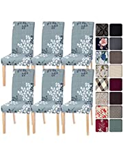 SearchI Spandex Dining Room Chair Covers Stretch Printed Chair Slipcover, Removable Washable Kitchen Chair Covers Protector for Dining Room, Hotel, Ceremony, Banquet