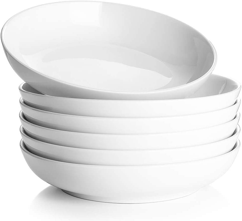 DOWAN Pasta Soup Bowls, Porcelain Salad Bowl Set, Wide and Shallow Bowls, 30 Ounces, Set of 6, White