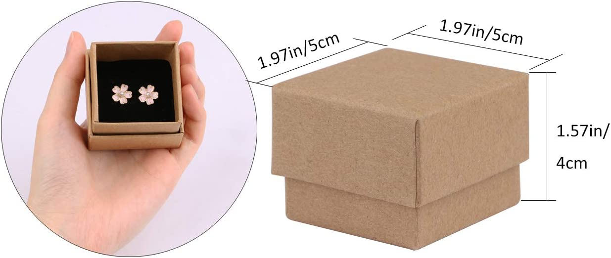 50 Pcs Sdootjewelry Kraft Paper Box Creative Ring and Necklace Box with Black Sponge 1.97/'/' 1.97/'/' 1.57/'/'