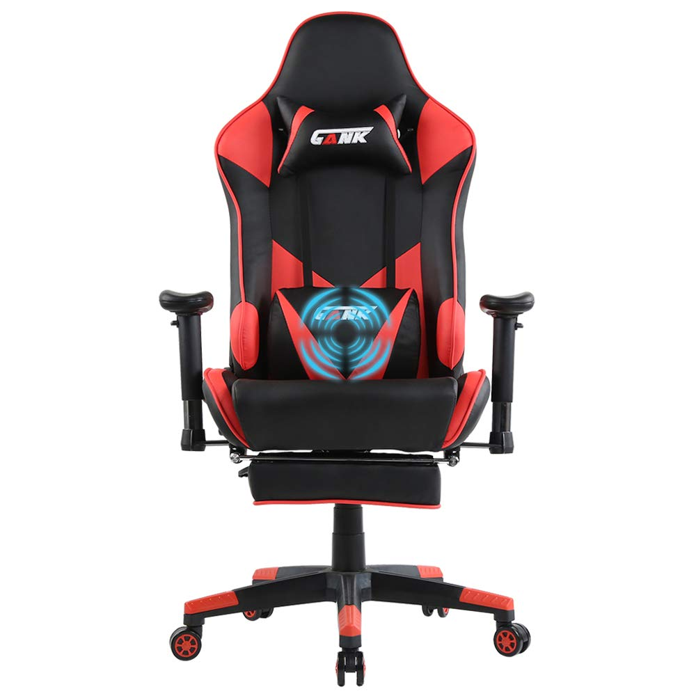 GANK Gaming Chair Large Size Racing Office Computer Chair High Back PU Leather Swivel Chair with Adjustable Massage Lumbar Support and Footrest Red