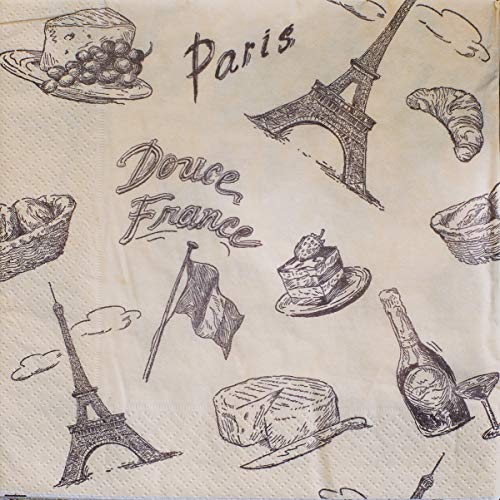 - Paper Tissue Napkins 3-ply 13x13 in with print, 20/pkg pack. Perfect for Party, Birthday, Home and Restaurant. Made in Europe. (Paris)