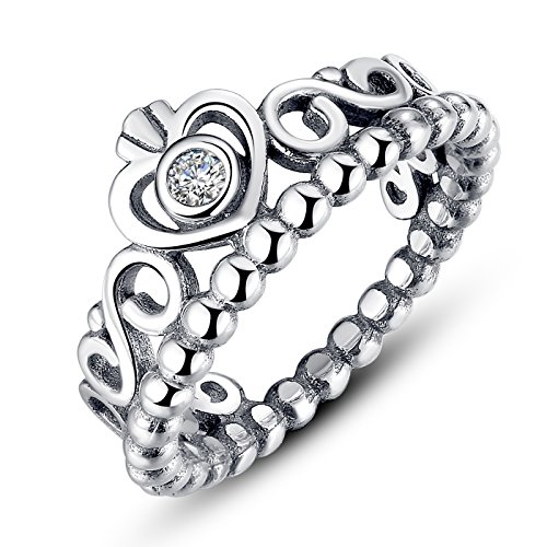 BAMOER 925 Sterling Silver My Princess Queen Crown Stackable Engagement Wedding Ring with CZ Size 6 7 8 9 (6) (Princess Wedding Anniversary Bridal Ring)