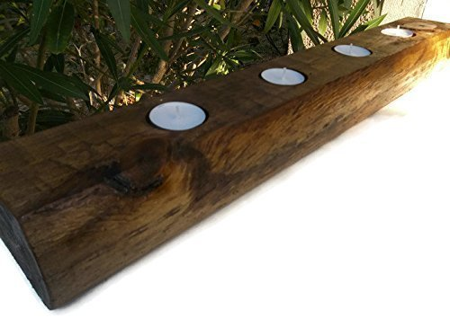 Rustic Wood Candle Holder Votive Tealight 24 x 3 x 3 Handmade by Serendipity World