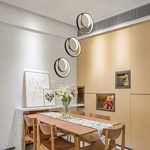 &Pendant Chandelier Chandelier, Long Golden Restaurant Chandelier Nordic Simple Modern Aluminum Dining Room Lamp Designer Decoration Lamps (Color : A)