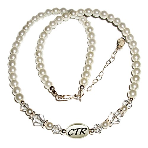 Sterling Silver Child's CTR Necklace for Girls with Simulated Pearls and Crystals (12+2