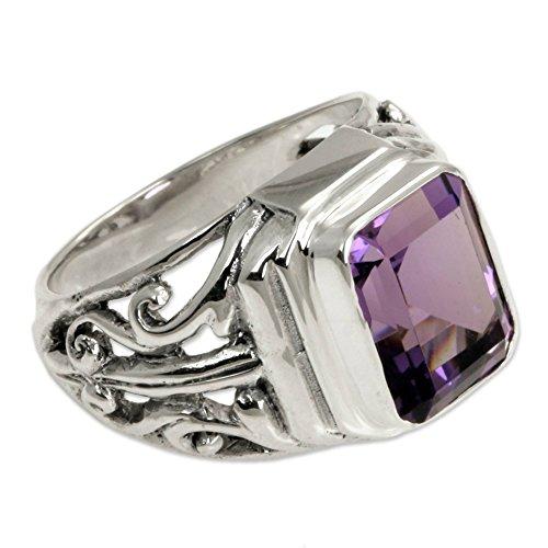 - NOVICA Square Amethyst .925 Sterling Silver Men's Ring, Wisdom Warrior'