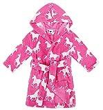 Verabella Girls Robe Plush Super Soft Fleece Hooded Bathrobes Sleep Robe,Rose,L