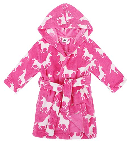 (Verabella Boys Girls' Fleece Printed Hooded Beach Cover up Pool wrap,Unicorns,M)
