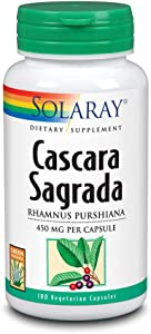 Solaray Cascara Sagrada Bark, Veg Cap (Btl-Plastic) 450mg 100ct