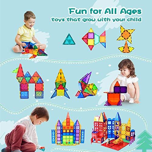 Compatible Magnetic Tiles Building Blocks STEM Toys for 3+ Year Old Boys and Girls Learning by Playing Montessori Toys Toddler Kids Activities Games - 102pcs Advanced Set