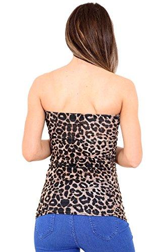 janisramone mujeres Vestido de boobtube bandeau strapless cultivo chaleco sujetador chicas superior Brown Leopard