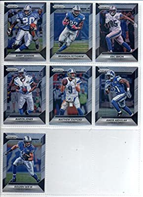 2016 Panini Prizm Football Detroit Lions Team Set of 7 Cards: Matthew Stafford(#29), Ameer Abdullah(#39), Golden Tate III(#49), Marvin Jones Jr.(#59), Brandon Pettigrew(#69), Eric Ebron(#79), Barry Sanders(#165)