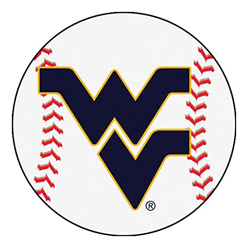 (NCAA West Virginia University Mountaineers Baseball Shaped Mat Round Area)