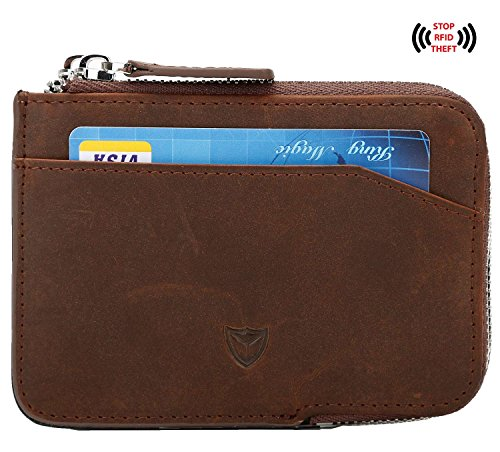 Slim Wallet with Zipper RFID Sleeves Front Pocket Minimalist Wallet Card Holder