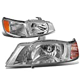 DNA MOTORING HL-OH-047-CH-AM Headlight Assembly, Driver and Passenger Side, Chrome Housing/Amber Corner