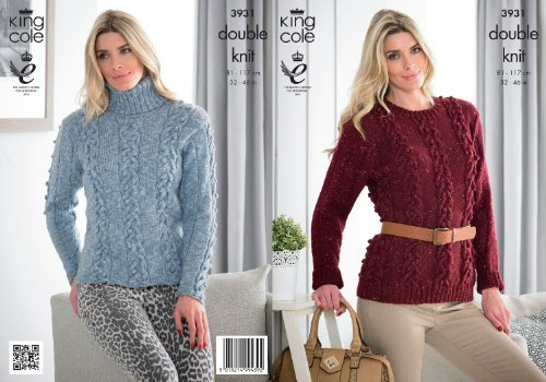 King Cole Ladies Double Knitting Pattern Womens Round or Roll Neck Cable Knit Sweaters 3931 by King Cole by King Cole