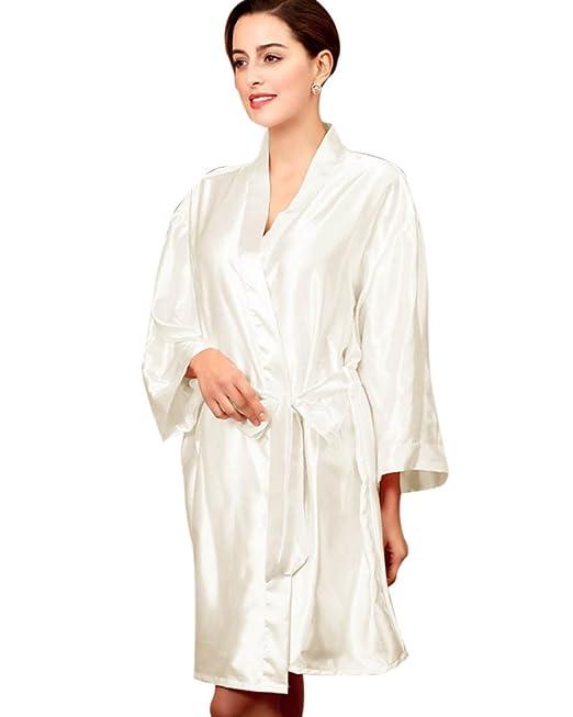 SaiDeng Mujeres Kimono Satén Seda Elegantes Suaves Batas De Baño Ropa De Dormir Albornoces Camisón Pijamas