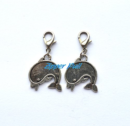 Porpoise Earring (Dolphin charm, porpoise charm, zipper pull, purse charm, clip on charm,Perfect for Necklaces, Bracelets, keychain and earrings Dolphin handmade Jewelry)