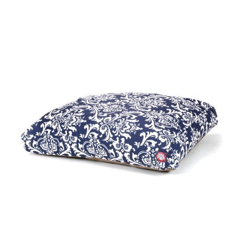 Majestic Pet Navy Blue French Quarter Medium Rectangle Indoor Outdoor Pet Dog Bed With Removable Washable Cover By Products by Majestic Pet