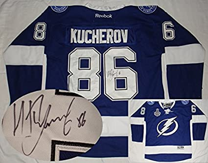 Nikita Kucherov Hand Signed   Autographed Tampa Bay Lightning Blue Jersey 6af7537ff