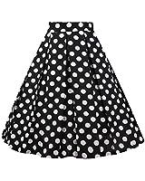 Girstunm Women's Pleated Vintage Skirt Floral Print A-line Midi Skirts with Pockets Black-White-Dot XXX-Large