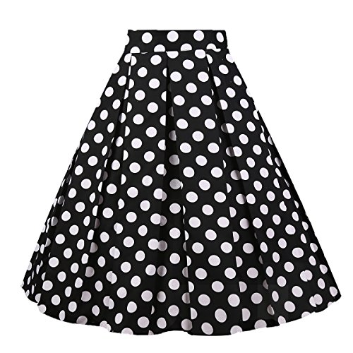Girstunm Women's Pleated Vintage Skirt Floral Print A-line Midi Skirts with Pockets Black-White-Dot -