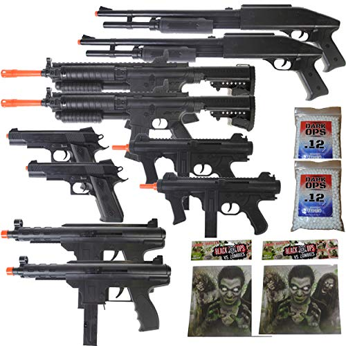 MEGA Airsoft Party Package - 10 DOA 6mm Airsoft Guns Rifles + 40 Zombie Targets + 2,000 6mm BBS ()