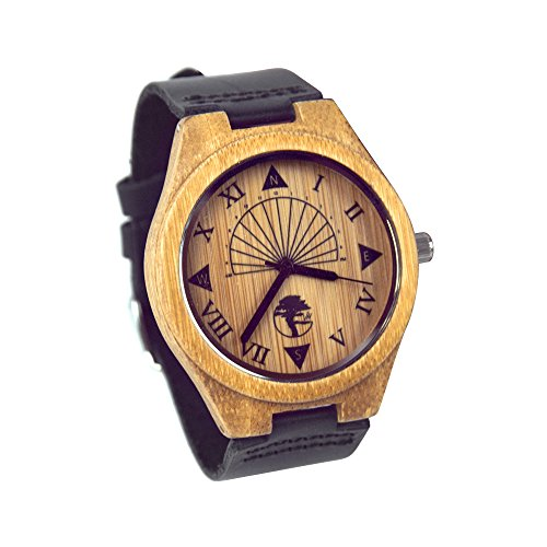 Viable Harvest Men's Wood Watch, Unique Sundial Design, Natural Bamboo , Genuine Leather and Gift Box (black)