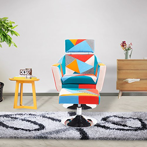 Cloud Mountain Multi-color Patchwork TV Chair and Ottoman...