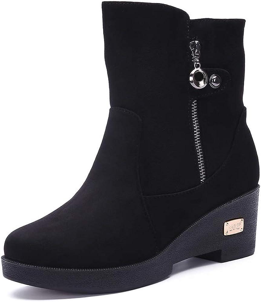 Gaatpot Chaussures Bottes Hiver De Neige Femmes avec Chaud Fourrure Doublure Antid/érapage Talons Bottine 35-41EU