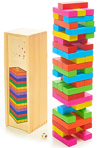 DexKid Wooden Blocks Toppling Tower - Colored Stacking and Tumbling Timbers Tower Game (54 pcs) Board Games Building Blocks for Toddlers Kids Age 3+ Wood Construction Set BONUS: Wooden Storage Box