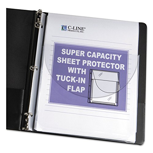 C-Line 61027 Super Capacity Sheet Protector with Tuck-in Flap, 200-Inch, Letter Size, 10/Pack