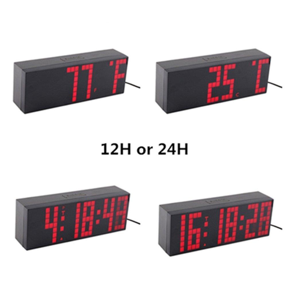 3473ea6c47f3 Despertador Reloj Grande de LED Cuenta reloj de pared temporizador Reloj  LED Digital   Cuenta atrás   adelante Reloj con control remoto  Amazon.es   Hogar