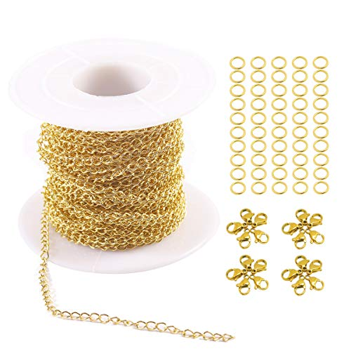 - Tiparts 33FT 18K Gold Plated Cable Chains Stainless Steel Extender Chains Link Necklace Bulk for Jewelry Making with with 20 Lobster Clasps and 50 Jump Rings (Gold, 2.5mm)