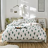 Spring Cotton Bedding Sets Modern Green Cactus Duvet Cover Sets Reversible Durable Wave Geometric Bedding Comforter Cover Sets for Kids Boys Four Seasons Soft Bedding Collections (Cactus 6, Queen)