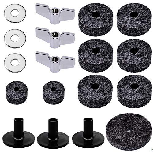 Sanwich Set of 18 Pieces Cymbal Replacement Accessories Cymbal Felts Hi-Hat Clutch Felt Hi Hat Cup Felt Cymbal Sleeves with Base Wing Nuts and Cymbal Washer for Drum Set