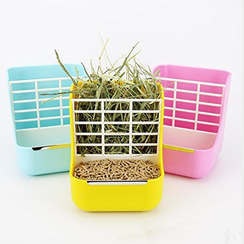- Hay Food Bin Feeder, Hay and Food Feeder Bowls Manger Rack for Rabbit Guinea Pig Chinchilla and Other Small Animals (Yellow)