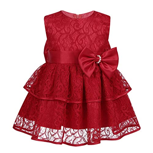 (YiZYiF Baby Girls' Embroidered Christening Baptism Flower Girl Wedding Dresses (0-6 Months, Ruffles Red))