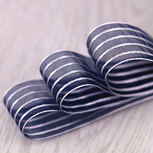 Molshine Fashion Color Premium Quality Shimmer Sheer Organza Ribbon Ribbon-20Yards 1-inch(Navy (20 Sheer Ribbon Bow)