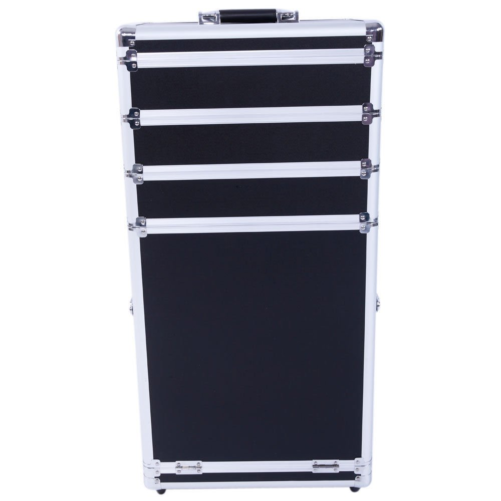 Aluminum 4 in 1 Rolling Makeup Trolley Train Case Box Organizer Salon Cosmetic - Black By Allgoodsdelight365
