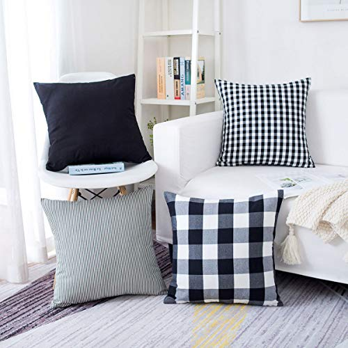famibay Pack of 4, Pillow Covers Tartan Buffalo Checkers Plaid Striped Cotton Linen Throw Pillow Case Decorative Cushion Cover for Home Sofa Couch 18 x 18 Inch, Black and White